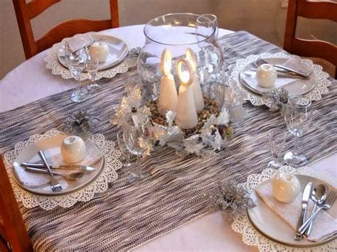 Winter Wonderland Wedding Decor - christmas table decor in white and silver doilies placemats