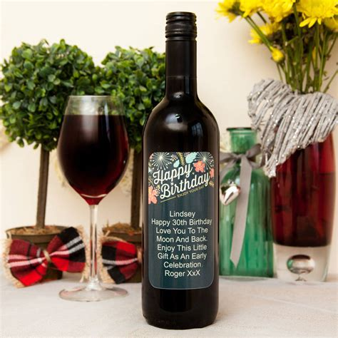 birthday wine personalised wine with retro happy birthday label by