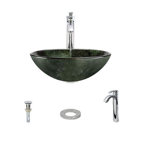 mr direct sinks and faucets mr direct glass vessel in forest green with 726