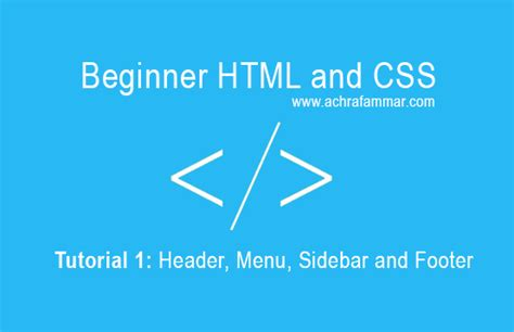 css tutorial header simple html css page header menu sidebar and footer