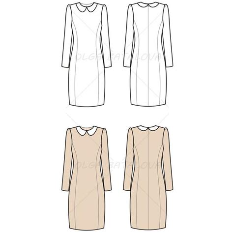 dress template for adobe illustrator women s long sleeve dress fashion flat template