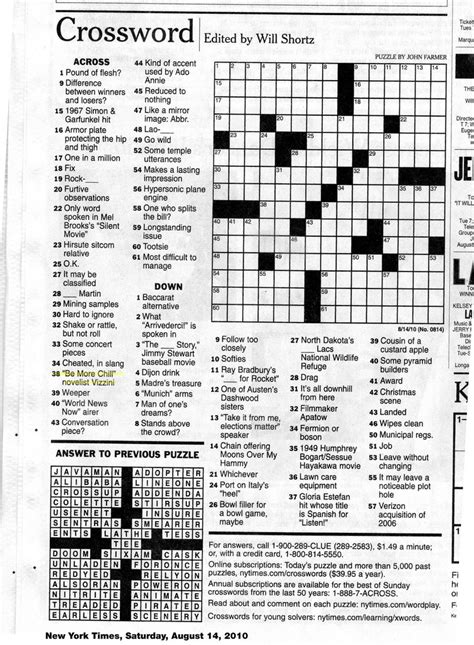 Pdf Free New York Times Crosswords by In The New York Times Crossword Puzzle Thanks To Editor
