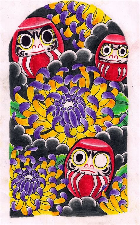 daruma dolls chrysanthemums by kirzten on deviantart