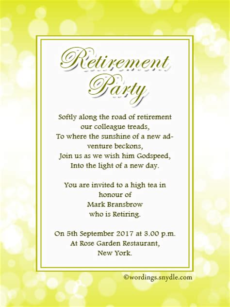 retirement party invitation wording ideas and sles