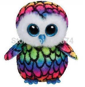 original ty beanie boos big eyes stuffed animals aria multicolor owl plush toys children