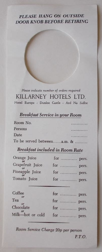 Vintage 80 S Killarney Hotels Door Knob Card Breakfast Room Service Order Menu Ebay Room Service Breakfast Menu Template