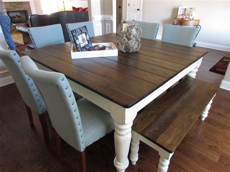 Square Kitchen Table With Bench Square Farmhouse Table