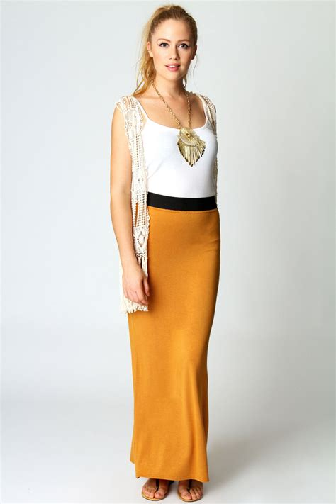 Savanabergo Pad Maxi Jersey Xl helen jersey contrast waistband maxi skirt mustard mustard shopping s fashion
