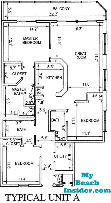 3 bedroom unit floor plans calypso towers condo floor plans panama city beach florida