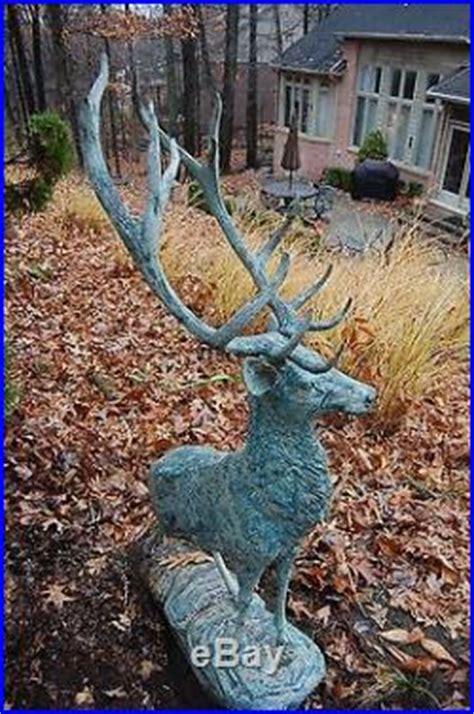 charming Modern Wall Art For Living Room #4: Large-Metal-Bronze-Deer-Stag-Elk-Outdoor-Yard-Sculpture-66-Tall-06-ijs.jpg