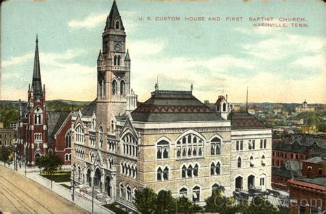 customs house nashville us custom house and first baptist church nashville tn postcard