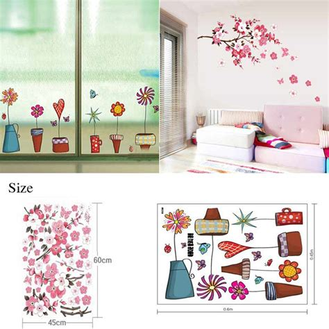 Flower Wall Decals For Bathroom 1pc Flower Wall Sticker Window Glass Butterfies Wall