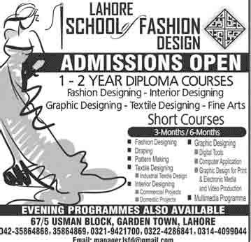 graphic designing courses fine arts education after 12th lahore school of fashion design admissions 2016 learningall