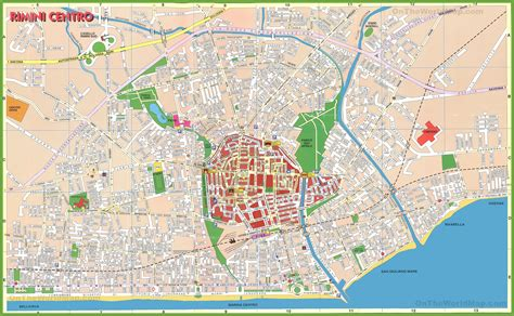 map of city centre rimini city centre map