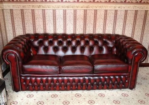 Vintage Chesterfield Sofa For Sale by Antique Chesterfield Leather 3 Seater Sofa X 2 For