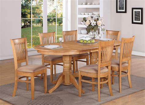 dining room set with bench vancouver 7pc oval dinette dining table 6 microfiber chairs oak finish