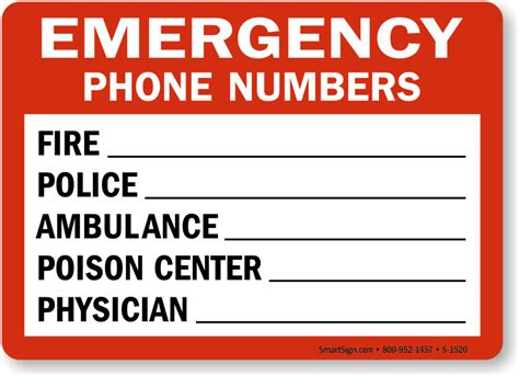 Emergency Contact Detox Facility by Emergency Phone Numbers Sign Sku S 1520
