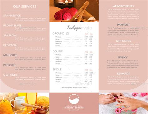 spa menu card template 15 spa menu designs and exles psd al