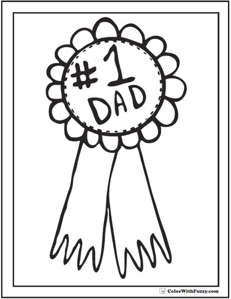 coloring page prize ribbon award father s day coloring page complete with ribbon