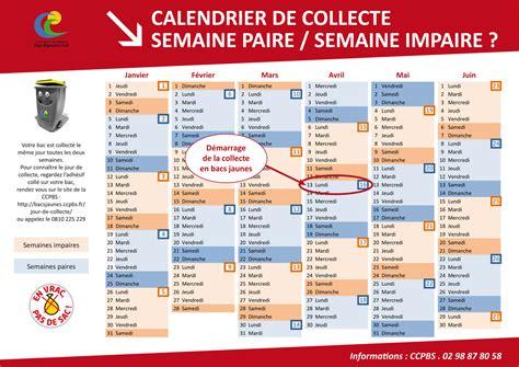 Calendrier 2017 Semaine Paire Et Impaire Calendrier Votre Sac Jaune Se Transforme En Bac Jaune