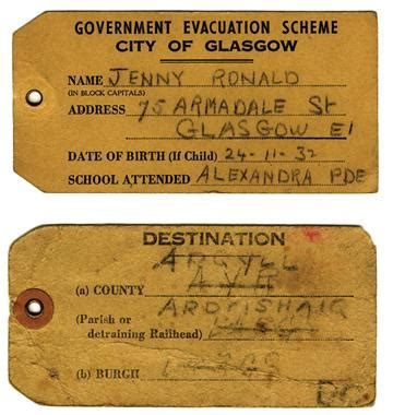 ww2 evacuee identity card template evacuation from wartime glasgow scotland s history