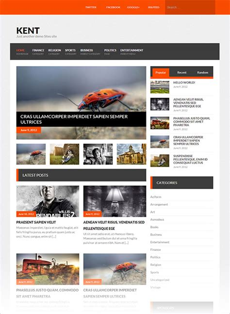 wordpress themes blog download 12 best free blog business wordpress themes for october