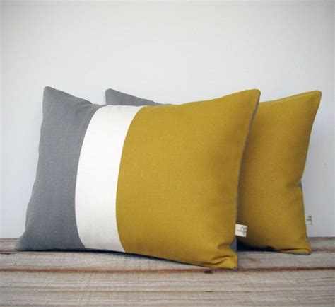 Mustard Yellow Pillow by Color Block Stripe Pillow In Mustard Yellow And