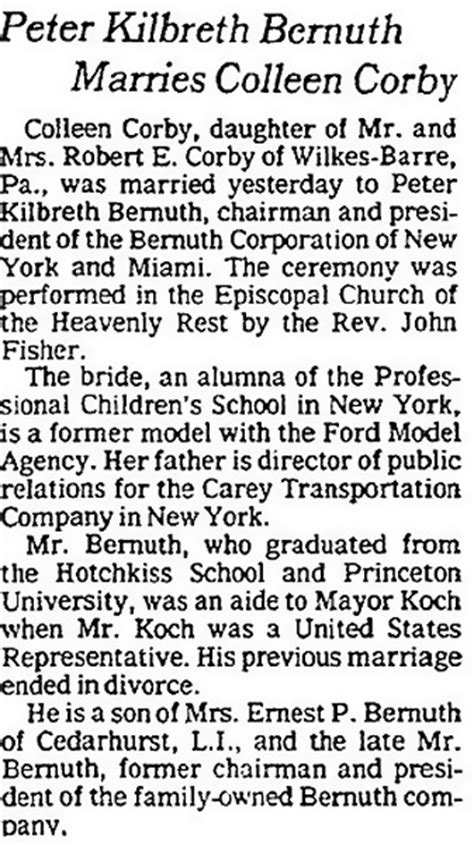 peter  bernuth marries colleen corby  york times