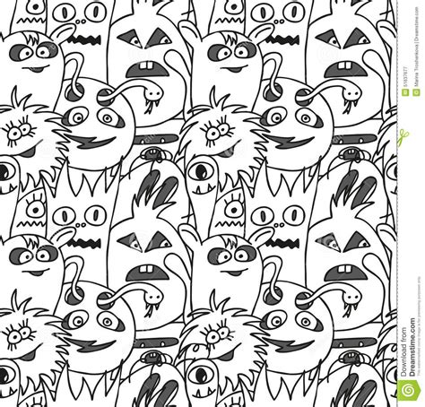 doodle free pc doodle monsters seamless pattern stock vector image