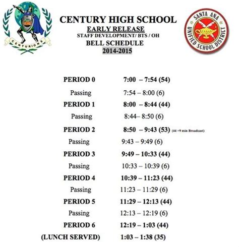 Century College Calendar Bell Schedules Bell Schedule Traditional Early Release