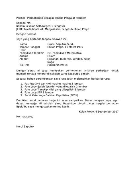 contoh surat lamaran kerja untuk guru wisata dan info sumbar