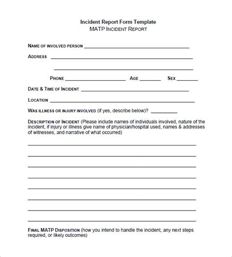 incident report template 37 free word pdf format