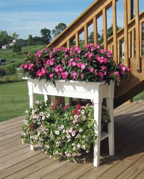 White Bench With Baskets Garden Planter Potting Bench Outdoor Patio Deck Potted