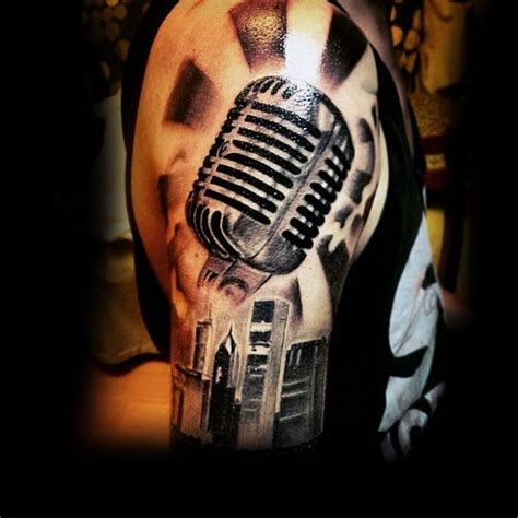 microphone realistic tattoo 3d realistic black and white vintage microphone tattoo on