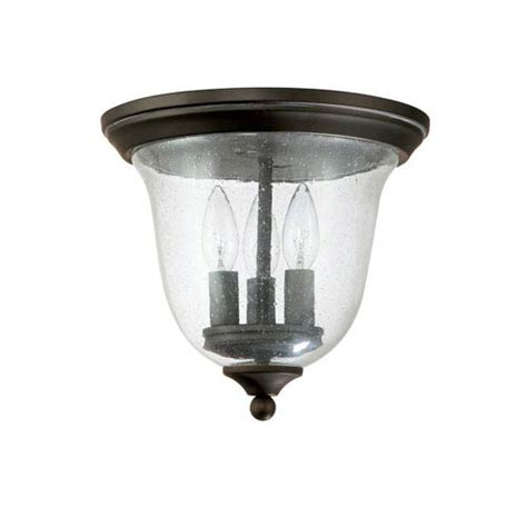 small bronze three light outdoor ceiling fixture