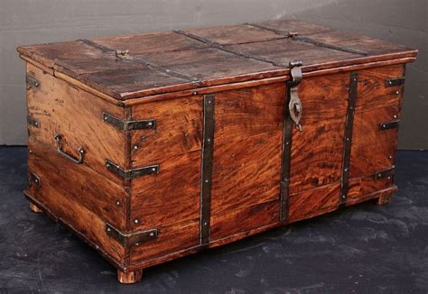 wooden trunk caign era iron bound wooden trunk at 1stdibs