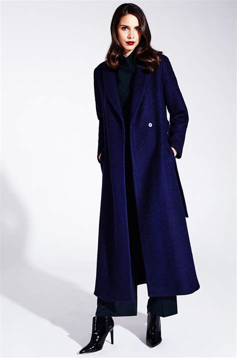 Maxi Coat maxi length woolen coat in a classic blue kala