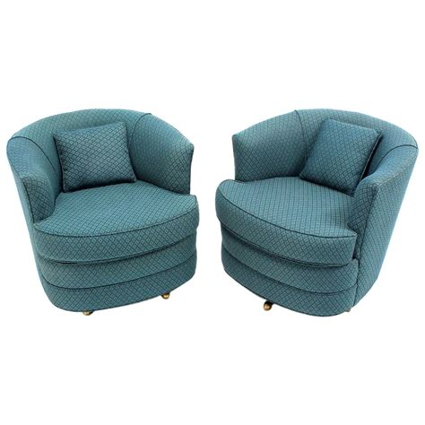 barrel chairs swivel pair of swivel barrel lounge chairs for sale at 1stdibs