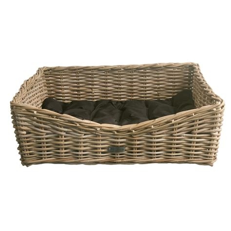 Wastepaper Basket Oblong Grey Wicker Dog Basket In 3 Sizes