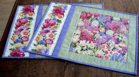 Quilted Table Mats by Floral Placemats Quilted Table Mats By Redneedlequilts