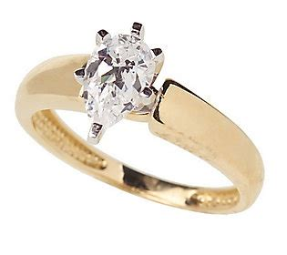 diamonique 1 ct pear solitaire ring 14k gold qvc