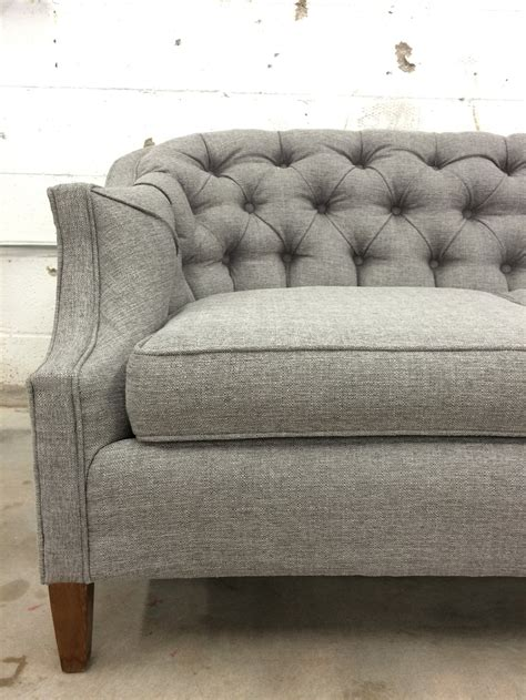 retro black tufted sofa before after vintage tufted sofa goes from skirted to