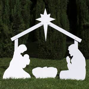 silhouette outdoor nativity set holy family scene