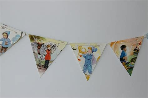 Handmade Baby Bunting - nursery rhyme bunting 1 handmade from vintage book pages