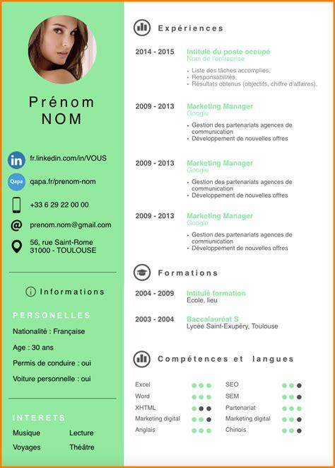 Forme De Cv En Francais by 11 Modele Cv Word Gratuit Moderne Format Lettre Cv