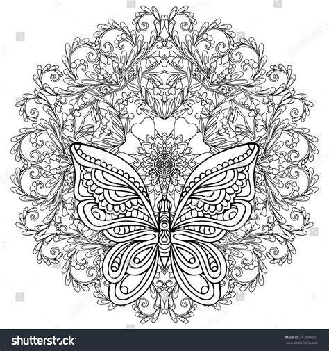 coloring books for grown ups butterflies mandala coloring book butterfly floral mandala coloring book stock vector