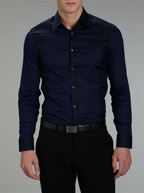 Panel Sleeve Shirtdress mens navy blue dress shirt dress yp