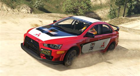 mitsubishi evo modded mitsubishi lancer evo x fq 400 rally livery gta5 mods com