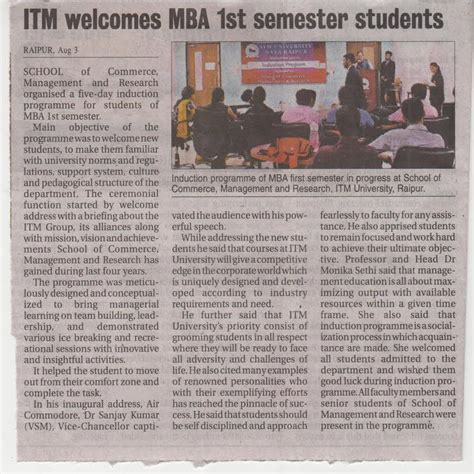 Parul Mba Semister Student List by Itm Raipur Institute Of Management