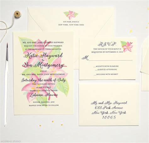 michael s wedding invitations clearance tropical plumeria wedding invitation mospens studio